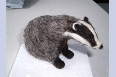 needle felt badger by Olwen Veevers